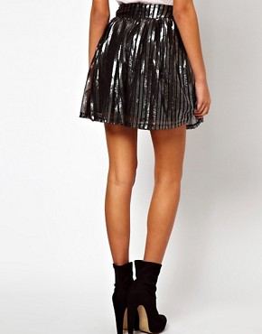 Image 2 ofASOS Skater Skirt in Metallic