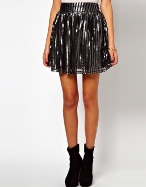 Image 4 ofASOS Skater Skirt in Metallic