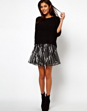 Image 1 ofASOS Skater Skirt in Metallic