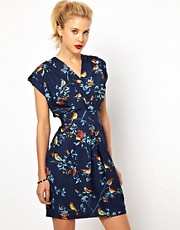 Closet Wrap Front Tulip Dress in Bird Print