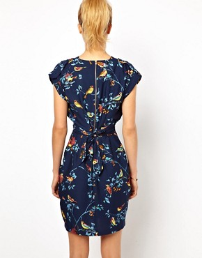 Image 2 ofCloset Wrap Front Tulip Dress in Bird Print