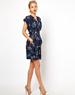 Image 4 ofCloset Wrap Front Tulip Dress in Bird Print