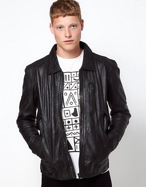 Image 1 ofBarneys Originals Leather Jacket Biker