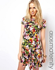 ASOS Maternity Printed Floral Skater Dress