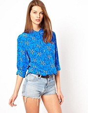 Equipment Signature Silk Shirt in Electric Blue Starburst Print