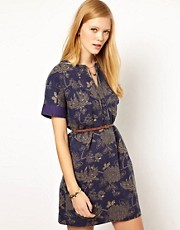 NW3 Japanese Floral Dress with Leather Belt