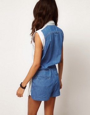 Image 2 ofASOS Colourblock Playsuit with Runner Hem Detail