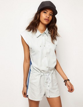 Image 1 ofASOS Colourblock Playsuit with Runner Hem Detail