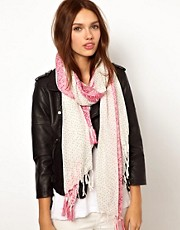 Warehouse Pink Woven Border Scarf
