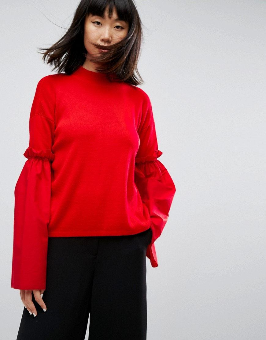 ASOS Jumper With Fabric Flared Sleeves - Red