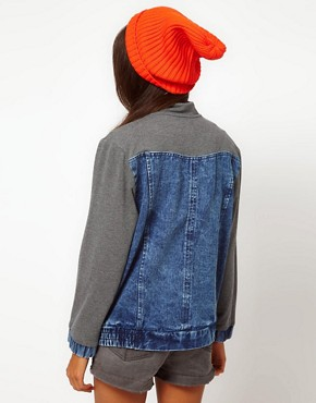 Image 2 ofASOS Denim Bomber Jacket with Jersey Sleeves