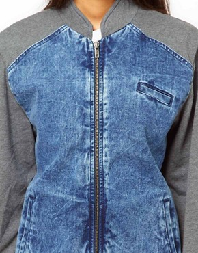 Image 3 ofASOS Denim Bomber Jacket with Jersey Sleeves