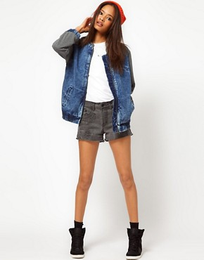 Image 4 ofASOS Denim Bomber Jacket with Jersey Sleeves