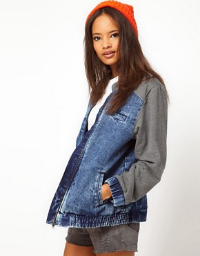 Image 1 ofASOS Denim Bomber Jacket with Jersey Sleeves