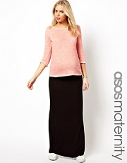 ASOS Maternity Exclusive Maxi Skirt with Foldover Top