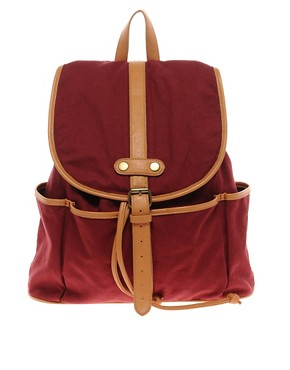 Image 1 ofASOS Canvas Backpack With Contrast Straps