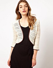 Dress Gallery Crochet Jacket with Leather Trim