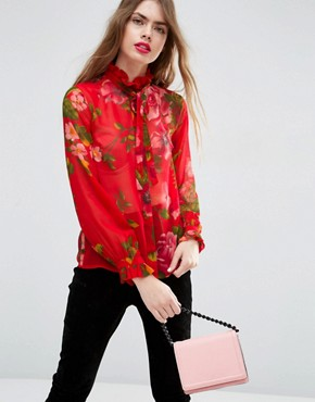 ASOS Floaty Blouse in Oversized Red Floral
