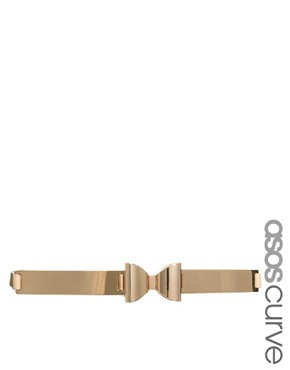 Image 1 ofASOS CURVE Metal Plate Bow Waist Belt