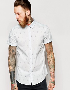 ASOS Shirt In Short Sleeve With Aeroplane Print