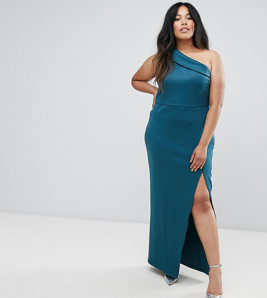 ASOS CURVE One Shoulder Maxi Dress with Exposed Zip