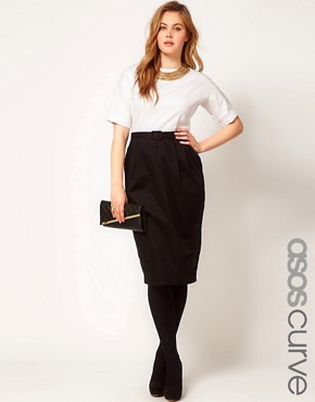 Image 1 ofASOS CURVE Wiggle Dress In Colour Block