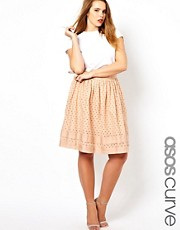 ASOS CURVE  Midirock aus Baumwolle mit Durchbrucharbeit