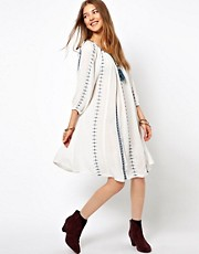 Ganni Embroidered Smock Dress