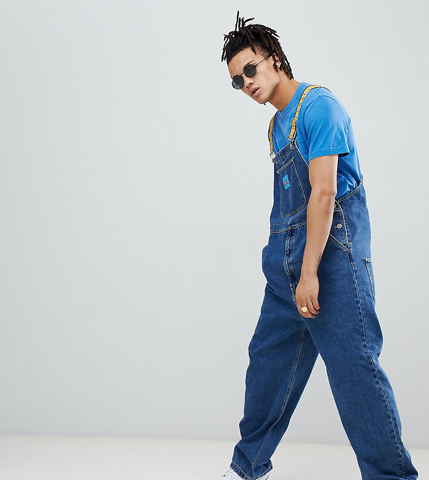 The Simpsons x ASOS DESIGN denim dungarees with taping