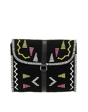 Image 1 ofASOS Suede Aztec Clutch Bag
