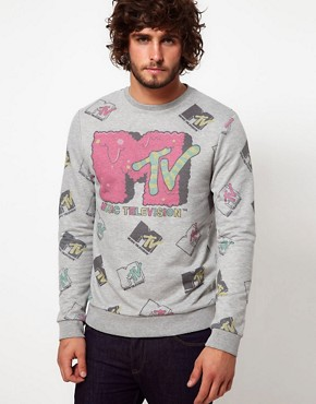 Image 1 ofASOS Sweatshirt With All Over MTV Print