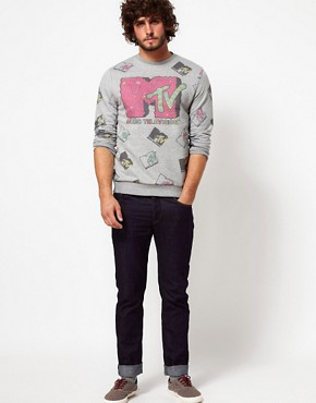 Image 4 ofASOS Sweatshirt With All Over MTV Print