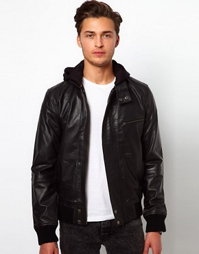 Image 1 ofSelected Leather Jacket with Hood