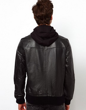 Image 2 ofSelected Leather Jacket with Hood