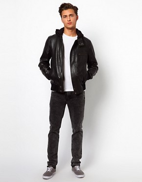 Image 4 ofSelected Leather Jacket with Hood