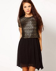 River Island Gold Lace T-Shirt Dress