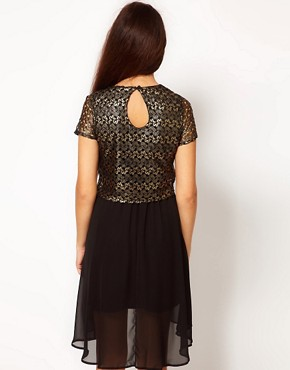 Image 2 of River Island Gold Lace T-Shirt Dress