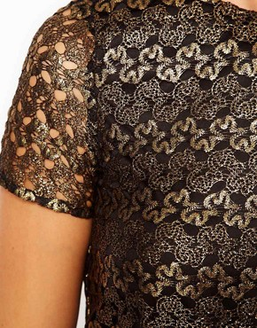 Image 3 of River Island Gold Lace T-Shirt Dress