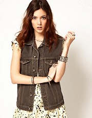 Somedays Lovin Viper Room Bleached Denim Gilet In Snake Print