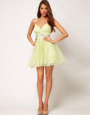 Image 4 ofLipsy VIP Soft Skater Dress With Embellished Waist