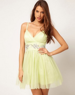 Image 1 ofLipsy VIP Soft Skater Dress With Embellished Waist
