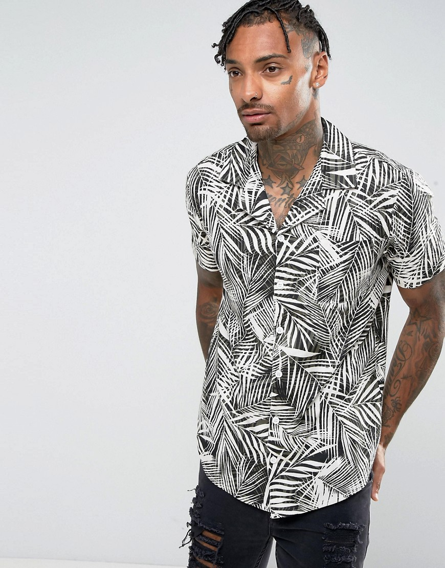 New Look Regular Fit Shirt With Revere Collar In Palm Print - White pattern