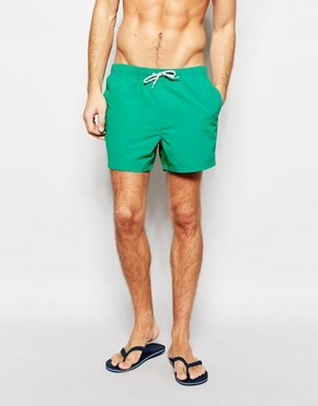 ASOS Swim Shorts In Green Short Length