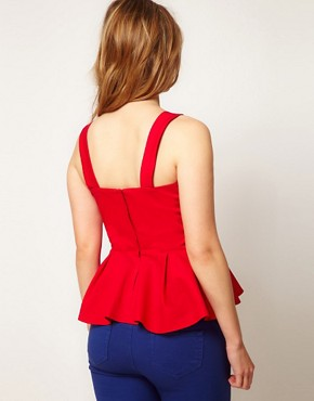 Image 2 ofASOS CURVE Peplum Top With Bow