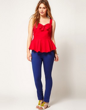 Image 4 ofASOS CURVE Peplum Top With Bow