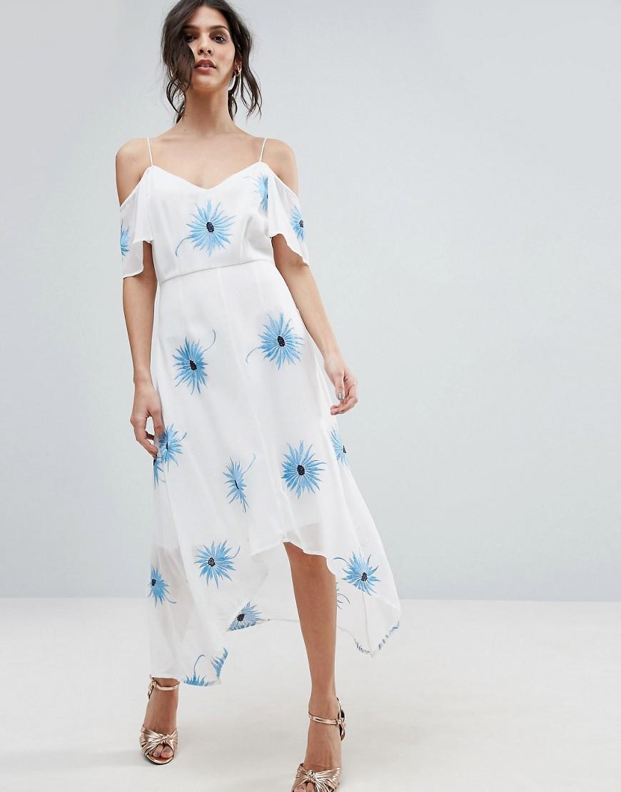 ASOS PREMIUM Cold Shoulder Embroidered Midi Dress with Dip Back Hem - White