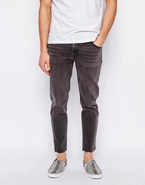 ASOS Skinny Jeans In Grey With Raw Edge Hem