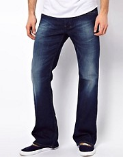 Diesel - Zathan 0806M - Jeans bootcut effetto usato con lavaggio scuro