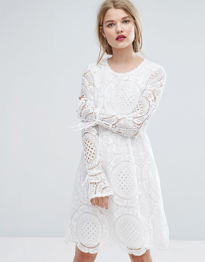 Vila Premium Cutwork Lace Fluted Sleeve Smock Dress - White
