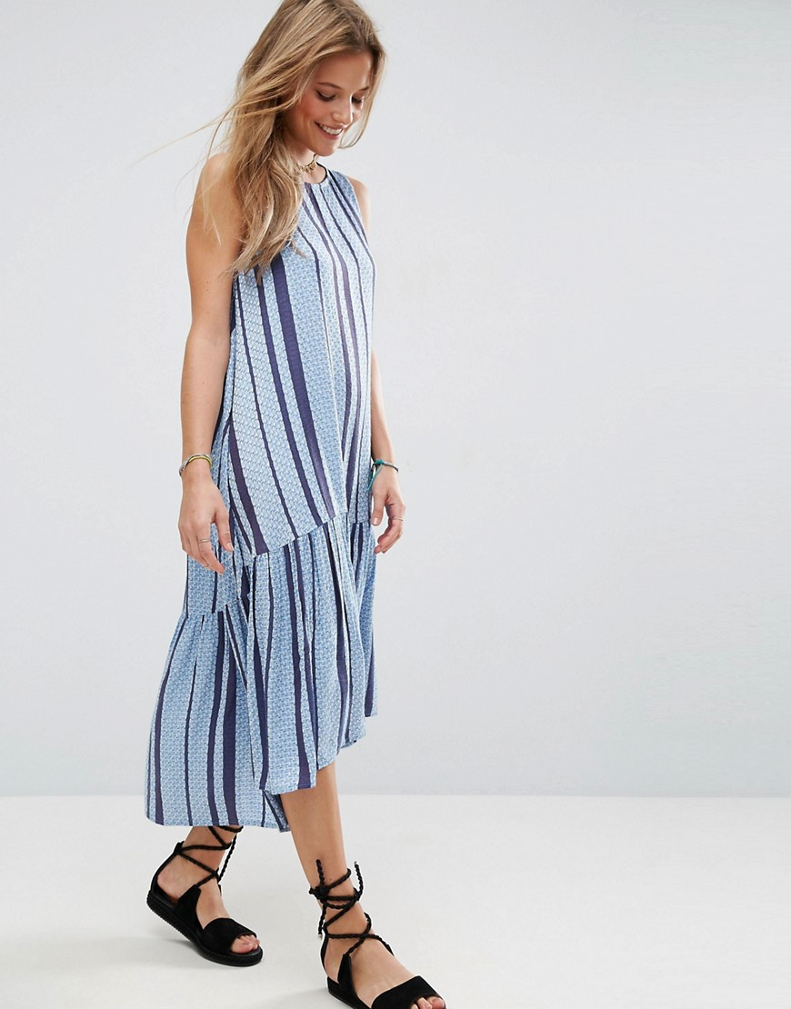 ASOS Stripe Trapeze Midi Smock Dress in Dobby - Multi